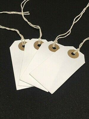 White Strung Tie On Tags Labels Retail Luggage tags with string 82mm x 41mm