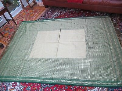BIG Persian (I think) luxury woven termeh (tablecloth) Silk? green & gold unused