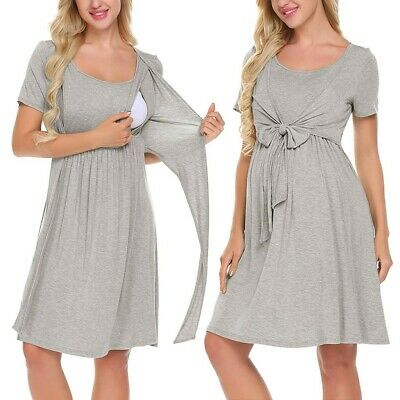 Women Maternity Nursing Baby Nightgown Solid Color Breastfeeding Sleepwear Skirt