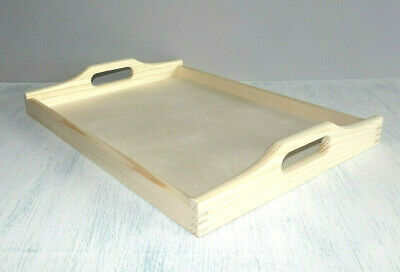New Wooden Serving Tray Tea Tray 40 x 30 x 4cm  Paint Stain craft decoupage