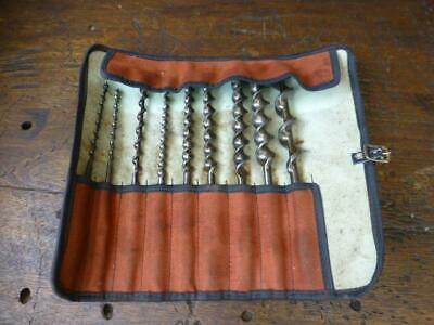 -A Set of 9 x Vintage Hand Brace Auger Bits by Ridgway