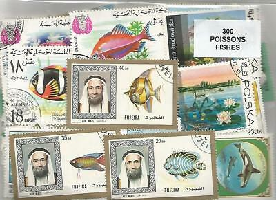 """Lot 300 timbres thematique """" Poissons"""""""