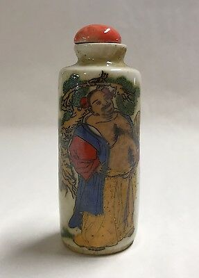 VTG Chinese Immortals Porcelain Snuff Bottle Red Cap God of Weapons Zhongli Quan