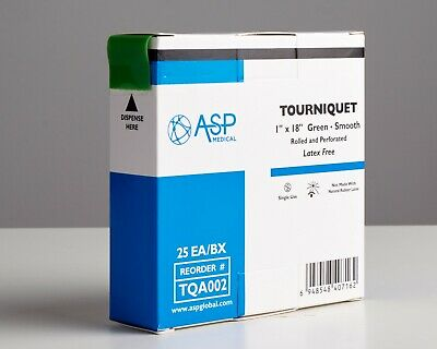"""Tourniquet, 1"""" x 18"""", Green, Smooth, Rolled and Perforated - ASP Medical"""