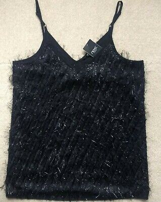 Next Black Faux Fur Hairy Feather Glitter Party Gatsby Top Cami Blouse Vest 10