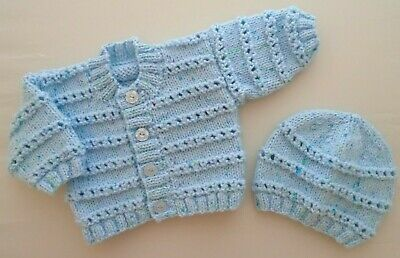 Newborn Baby Boys Cardigan Jacket Hand Knitted With Hat Turquoise Blue Speck