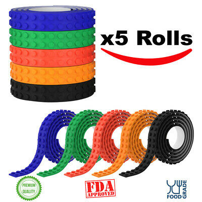 5 x 3.28 foot Roll Flexible Adhesive Silicone Building Blocks Tape with Scissors