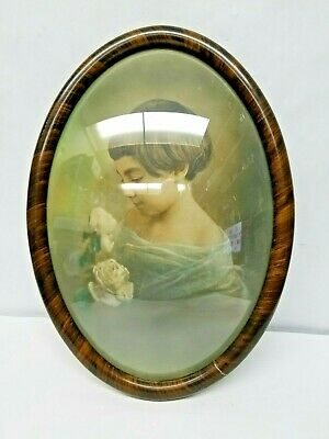 Large Antique Oval Wood Picture Frame with Convex Bubble Glass Girl Flowers