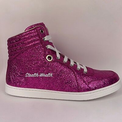 15305655358b Gucci Women s Fuchsia Pink Galassia Shimmer Sequin High-Top Sneaker 409793  40