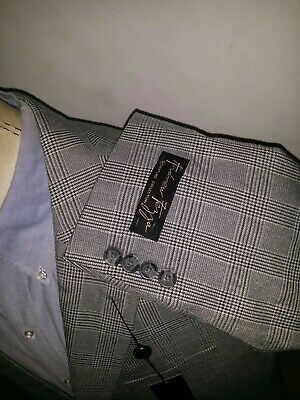 Andrew Fezza NWT 44S Blue Gray Black Prince of Wales Sport Coat Blazer Jacket
