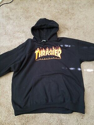ab3a76acb978 Thrasher Flame Logo Men s Pullover Hoodie Black 100% Authentic Brand New