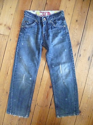 Rare Age 8 Boys Designer Blue Soft Distressed Denim Jeans Good Con