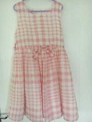 Jasper Conran 10Y Girls Pink White Check Sleeveless Dress Lined Special Ocassion