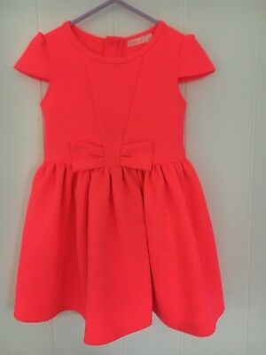 Billy Blush Age 3 Girls Stretch Hot Pink Cap Sleeve Dress With Front Bow Vgc