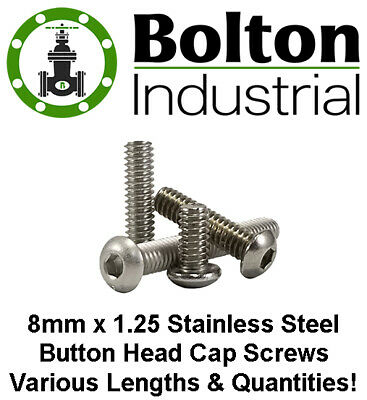 M8 x 10mm Qty 10 A2 Stainless Steel BUTTON HEAD Socket Cap Screws ISO 7380