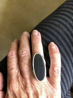 Petrified Black Large Wood .925 Sterling Silver Ring Size 7 Unisex Stamped M