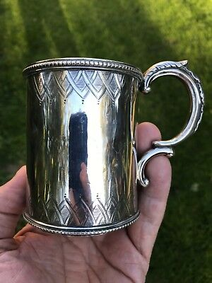 Antique Anglo Indian Colonial Silver Mug. Cooke & Kelvey. Calcutta Silver.1868.