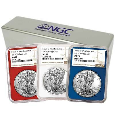 2019 (W) $1 American Silver Eagle 3 pc. Set NGC MS70 Brown Label Red White Blue