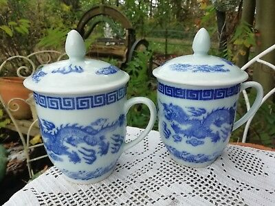 Pair of Vintage Chinese Lidded Chocolate Cups Mugs Blue Dragon Porcelain Perfect