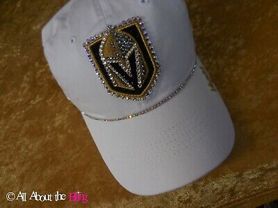 new concept d3393 24e20 Vegas Golden Knights cap VGK hat with Swarovski crystals custom made by hand