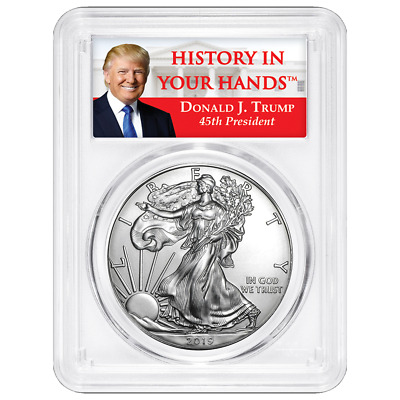 2019 $1 American Silver Eagle PCGS MS70 Trump Label
