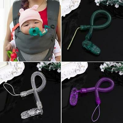 Baby Boy Girl Dummy Pacifier Soother Nipple Leash Strap Chain Clip Holder RE