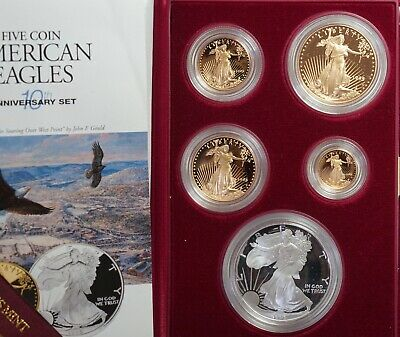 1995 W 10th Anniversary American Eagle Proof Set Gold & Silver With Box & COA