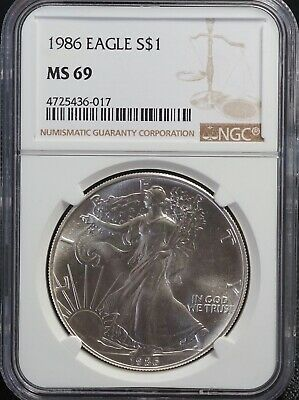 NGC MS 69 1986 American Silver Eagle One Dollar | 2