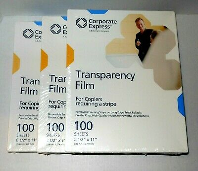 3 Packs Transparency Film 100 Each For Copiers Requiring a Stripe Sealed Lot