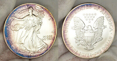 2001 .999 Fine Silver American Eagle $1 Coin W/ Beautiful Colorful Toning !