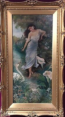 Classical Antique 19th - 20th C Oil Painting Of A Muse Beautifully Framed