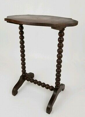 Antique English Oak Barley Twist occasional accent table vintage