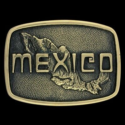 Vtg Mexico Mexican National Pride Ex-Pat Solid Solid Brass Nos 70s Belt Buckle