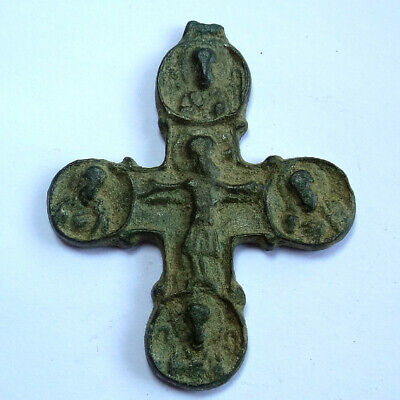 Ancient Artifact Byzantine Bronze Cross With Four Saints And Crucifix