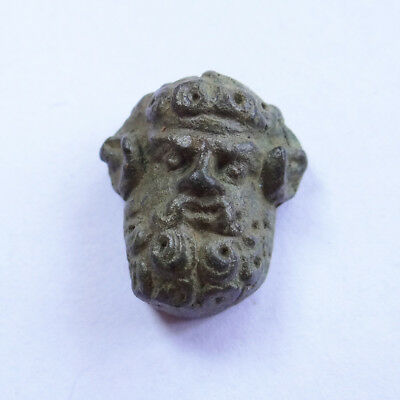 Greek Ancient Artifact Bronze Small Piece Head Of God Zeus