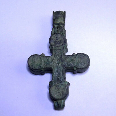 Ancient Artifact Bronze Medieval Byzantine Massive Double Cross Encolpion