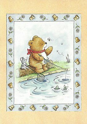 Carte Anniversaire Cadeau Petit mot Ourson Birthday Present Card little Bear #2