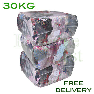 30Kg Bag of Rags Flannel Flannelette Wiping Polishing Engineer Mechanic Clean