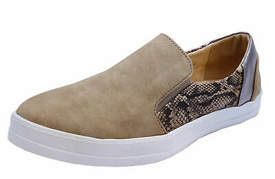 Ladies Taupe Flat Slip-On Plimsoll Pumps Comfy Casual Trainer Shoes Sizes 5-8