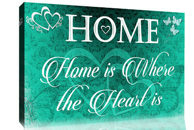 Home is where the heart is quote Duck Egg Blue Canvas Wall Art Picture Print