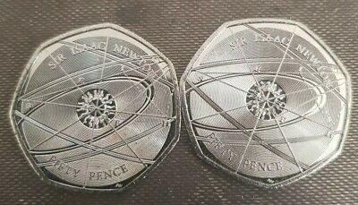50p×2 coin. Sir Issac Newton from new sealed bag. Uncerculated