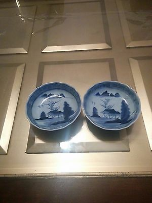 Pair of Japanese Antique (Edo Period) Blue and White Bowls