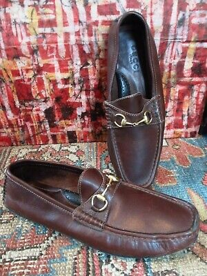 19ba02e8f Gucci Gold Horsebit Driving Loafer Moccasin Womens 8 38 Brown Leather  Classic