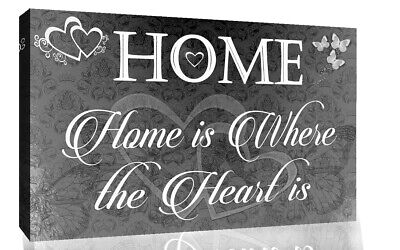 Home is where the heart is quote Black Grey Canvas Wall Art Picture Print