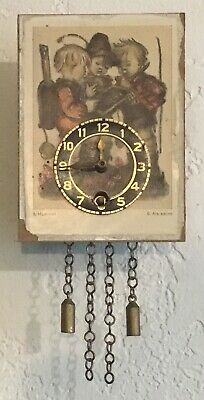 Hummel Picture Miniature Wall Clock - Three Little Boys - West Germany