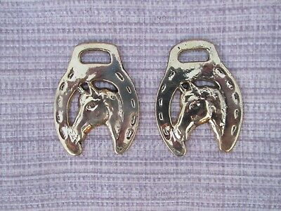 Brass Horse Bridle Harness Medallion Horseshoe Horse Head Lot of 2 Small