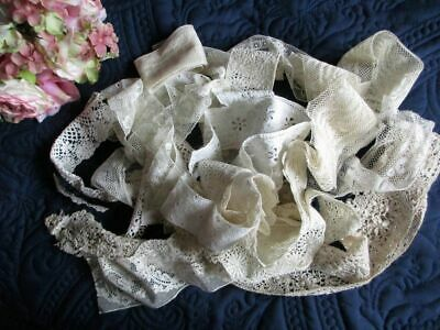 ANTIQUE/VINTAGE LOT OF WIDER LACE LENGTHS/EMBROIDERED PIECES~VALENCIENNES etc.