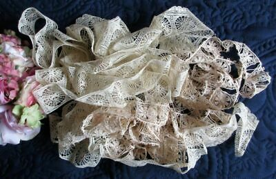 Antique/vintage Lot Of Spiderweb Cotton Lace~Lengths~Slotted