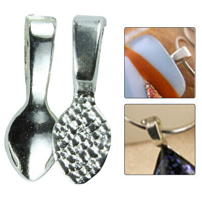 10pcs Pendant Bail Women Silver Plated Clasps Small Glue On Clips DIY Jewelry