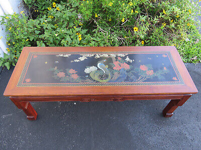 Oriental Hand Painted Peacock and Landscape Mahogany Vintage Coffee Table 9663